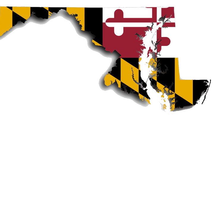 Maryland map, with Maryland flag design.